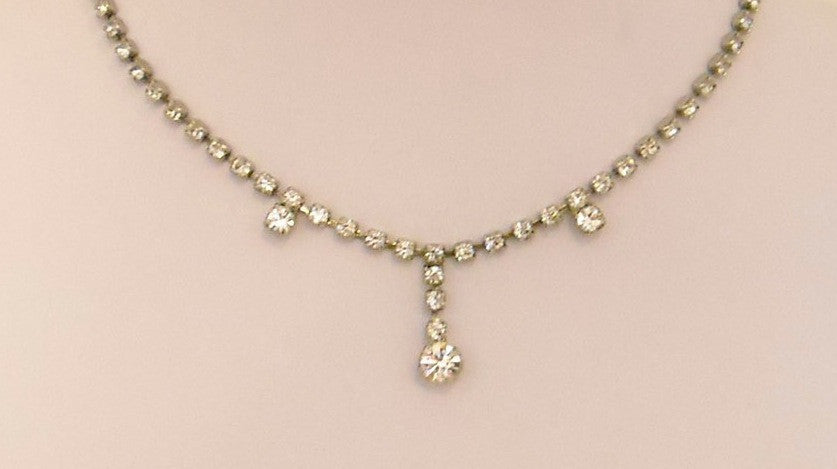 3-Drop Clear Rhinstone Vintage Necklace