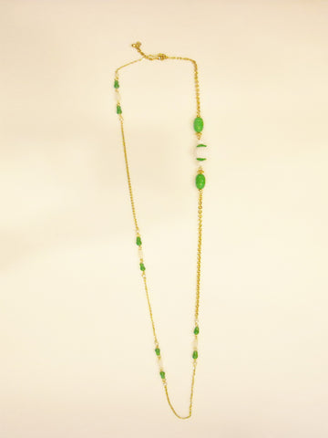 Subtly Mod Green Bead Necklace