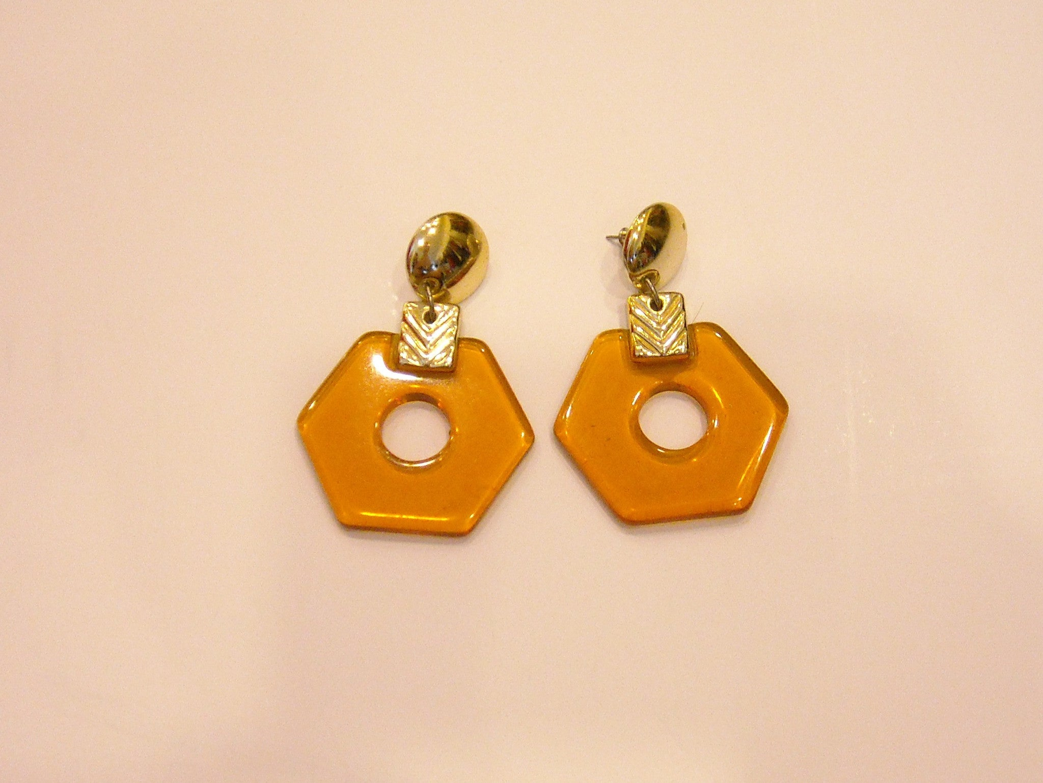 Amber Angles 60s Vintage Earrings