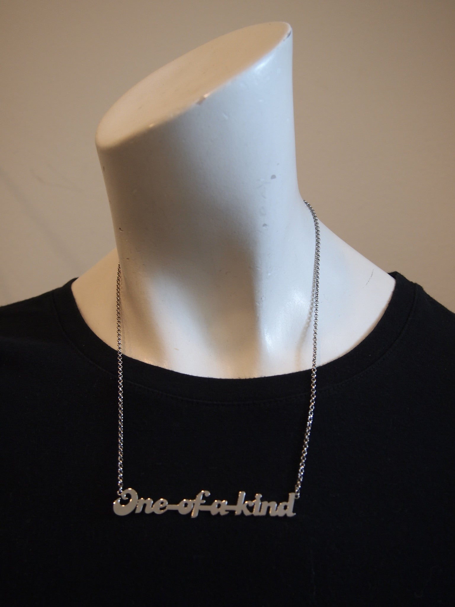 One of A Kind Silver Nameplate Necklace - Vintage Goddess