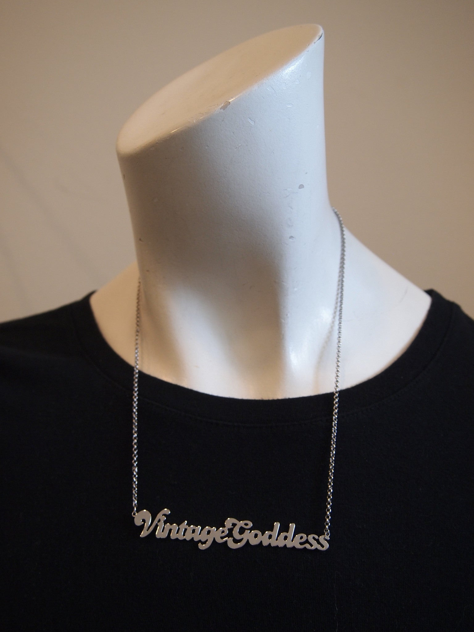 One-of-A-Kind Silver Nameplate Necklace - Vintage Goddess