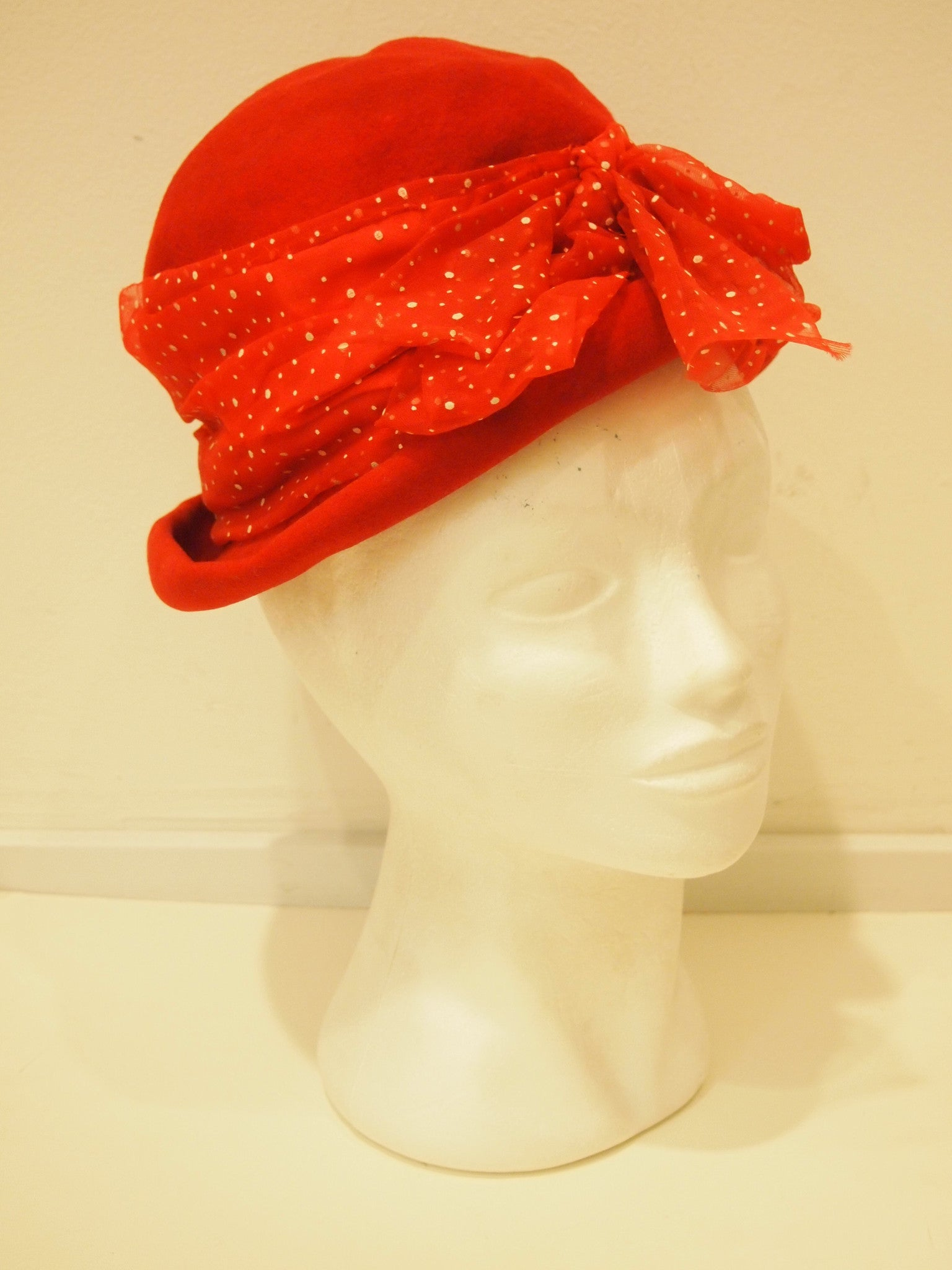 Red and Dotted Vintage Hat