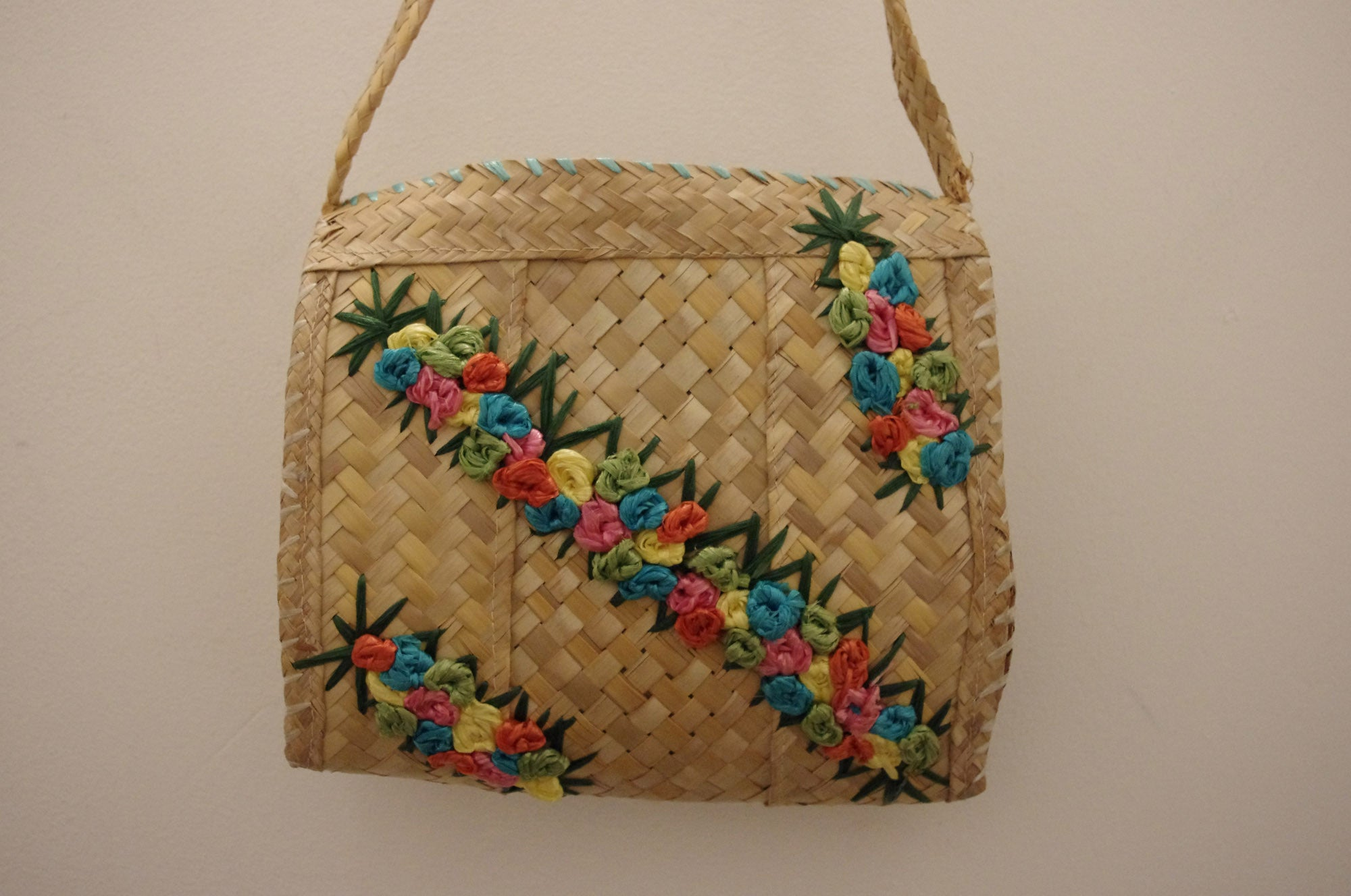 Diagonal Blooms Raffia Vintage Bag