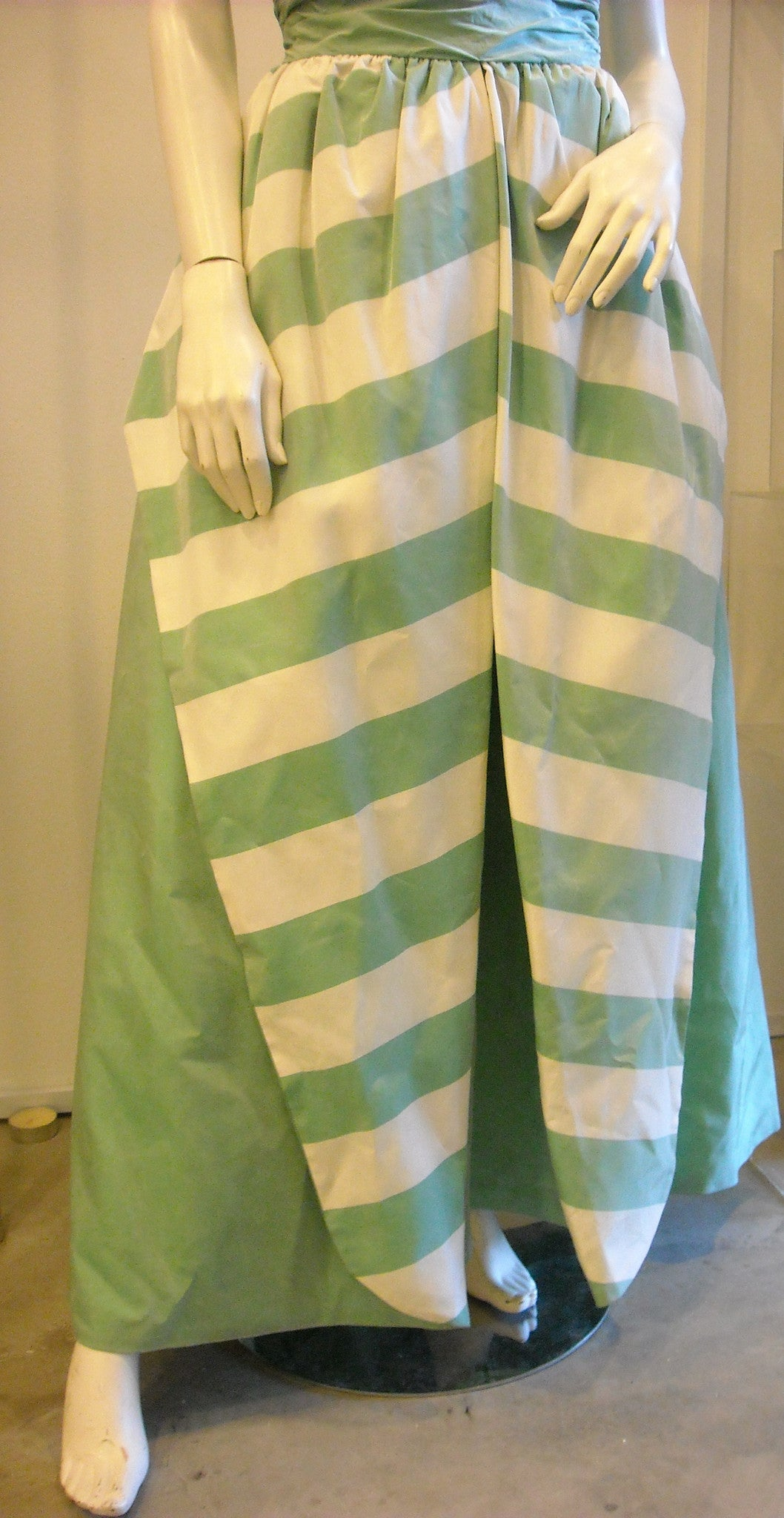 Making An Entrance with Green Stripes Vintage Evening Dress