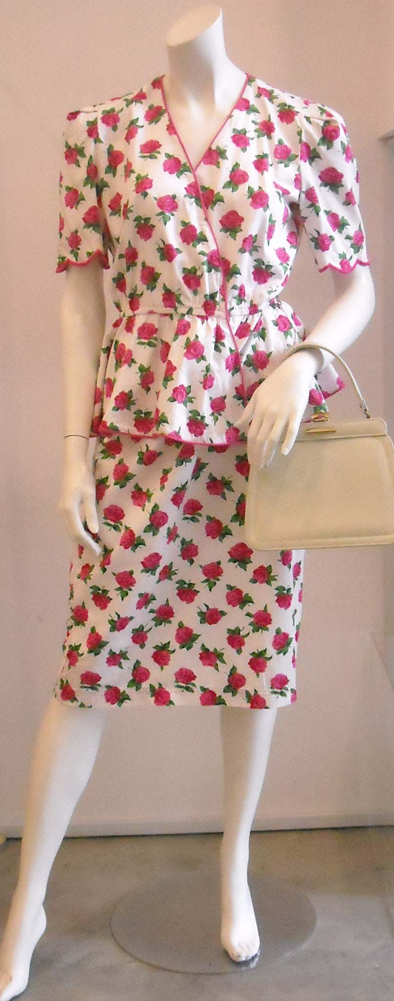Olde English Roses Peplum Vintage Dress