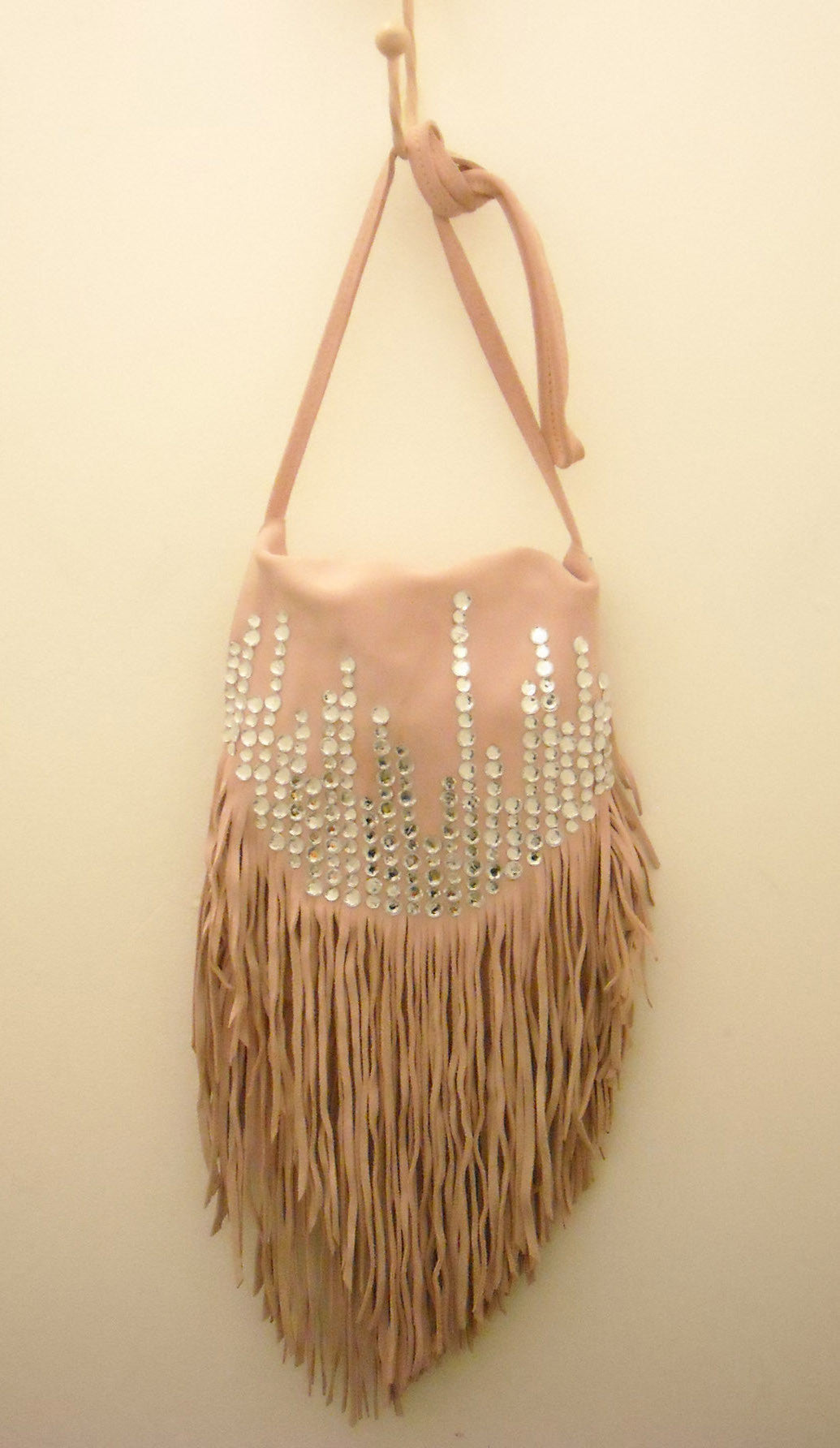 Bejewelled! Handmade Leather Fringe Sling Bag Pink
