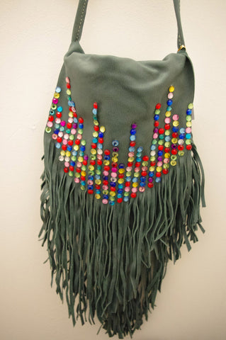 Bejewelled! Handmade Leather Fringe Sling Bag Teal