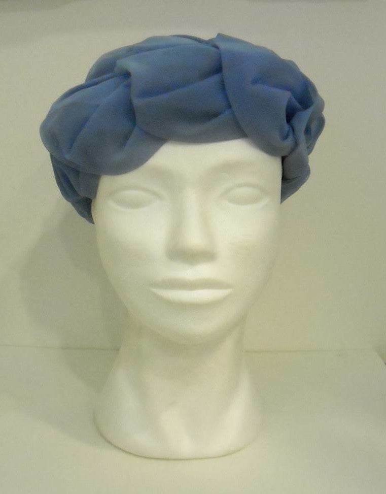 Vintage Pea blue pleated hat