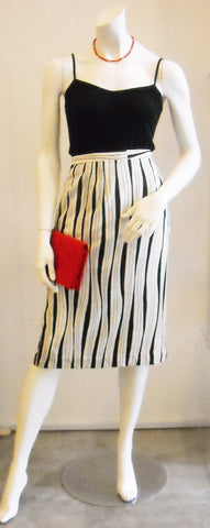 Go with the Flow Black/ White Striped Vintage Skirt
