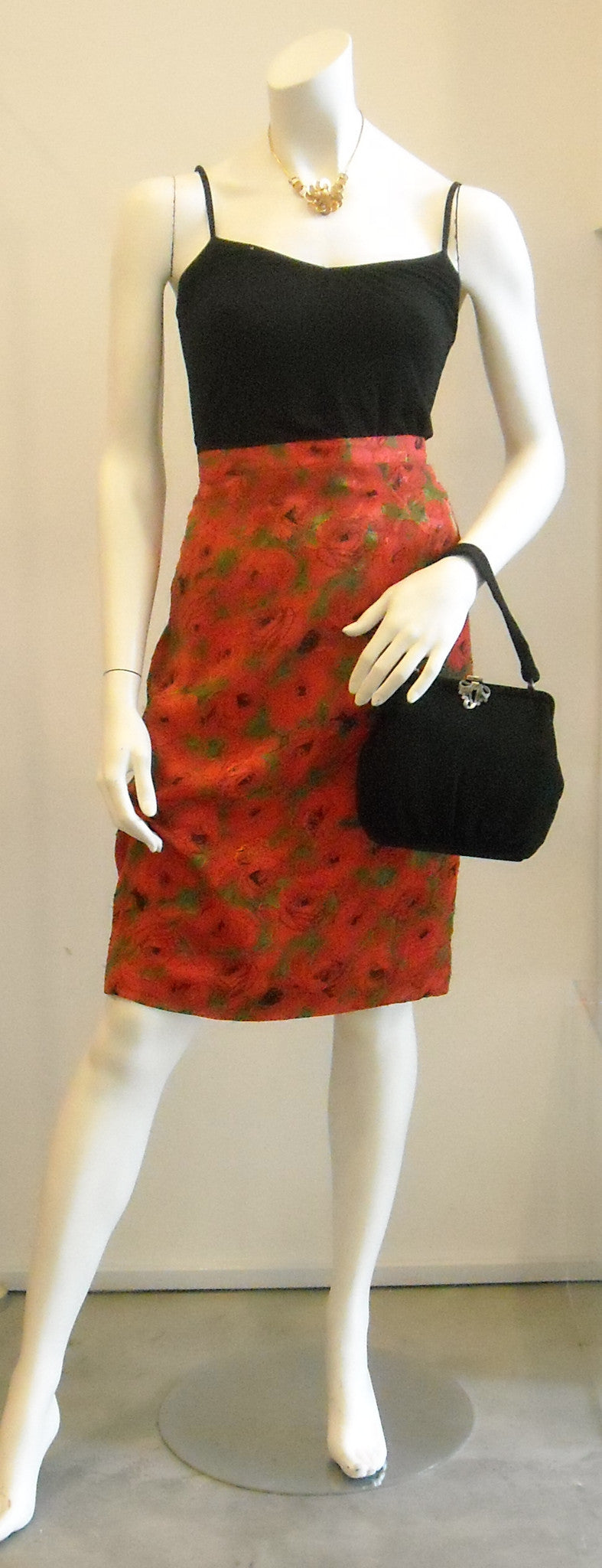 Red Poppy Garden Vintage Skirt
