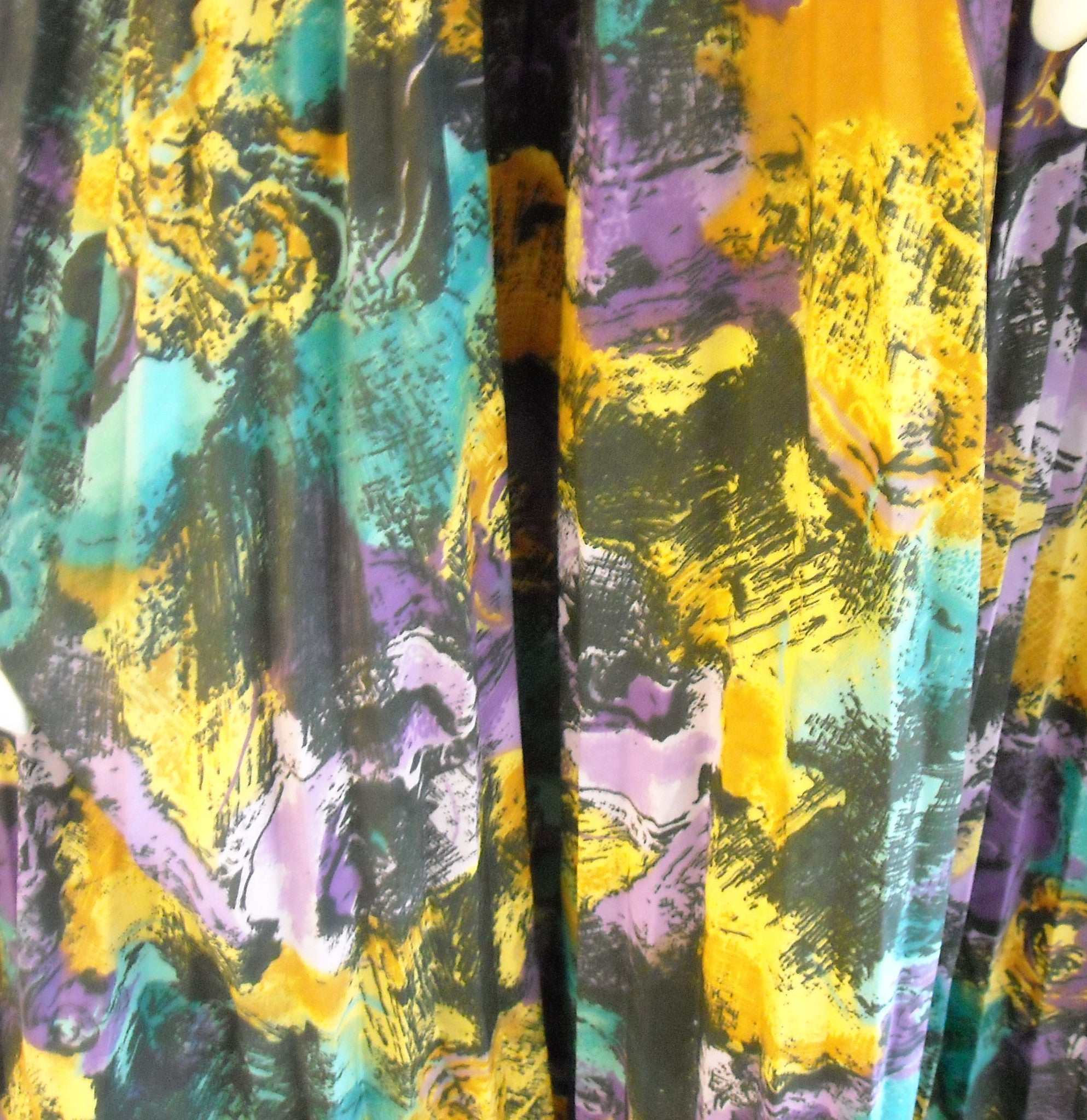 Abstract Watercolors Pleated Vintage Skirt