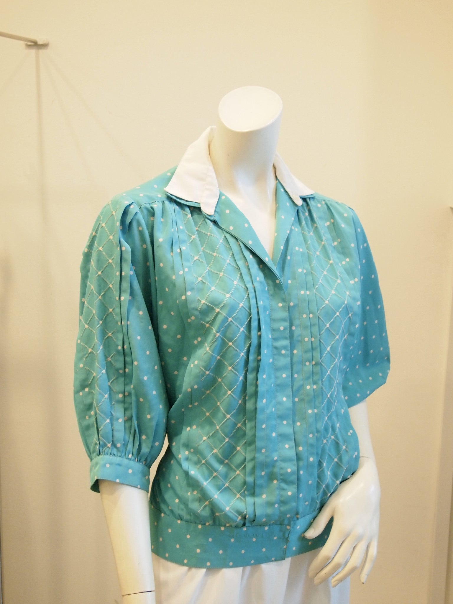 Aqua Dotty Vintage Top