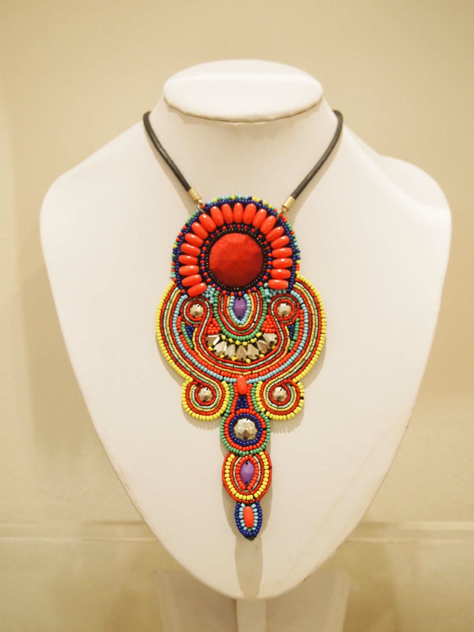 Handbeaded Necklace Bright Tribal