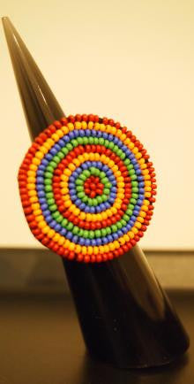 Handbeaded Rainbow Ring