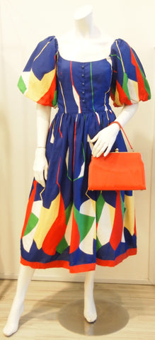 VTG COSTA BALLOON SLEEVES COLORFUL MOSIAC PARTY DRESS-VERY SEX & THE CITY