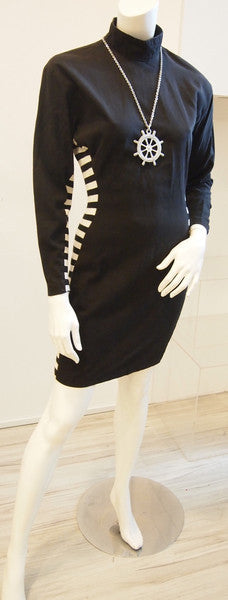 80s Black And White Side Stripe Dress