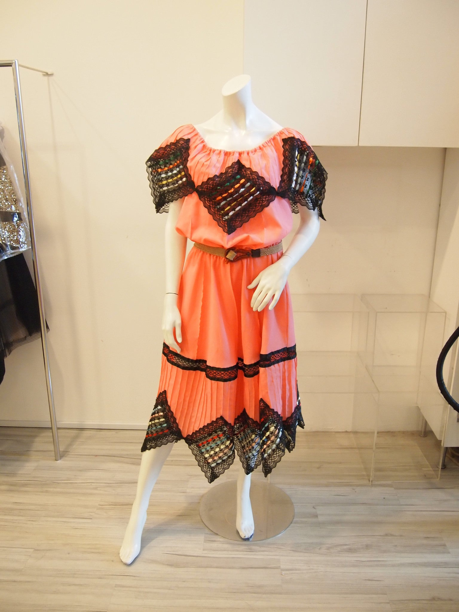 Coral Dress with Black Lace and Multi-colour Ribbon Trimmings