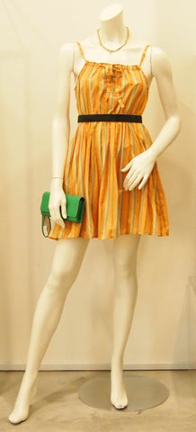 Striped In Orange Vintage Reconstructed Dress