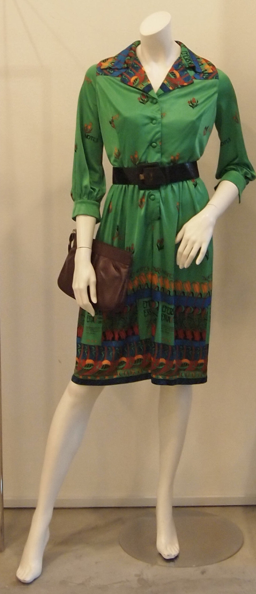 MY QUIRKY GREEN NOVELTY PRINT VINTAGE DRESS