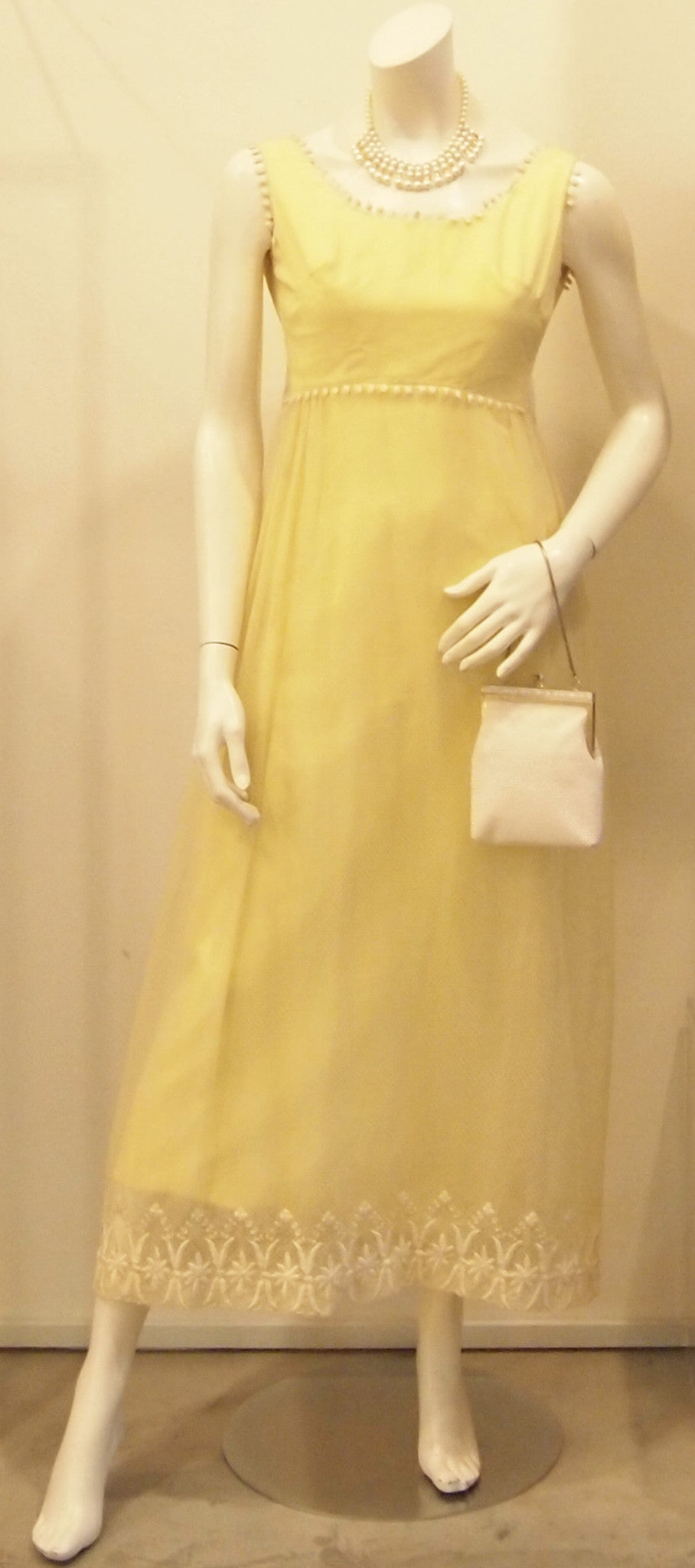 60S BUTTERCUP YELLOW LAYERED LACE MAXI DRESS