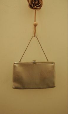 50s Silver Láme Clutch With Retractable Strap