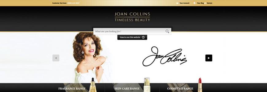 Joan Collins ecommerce website
