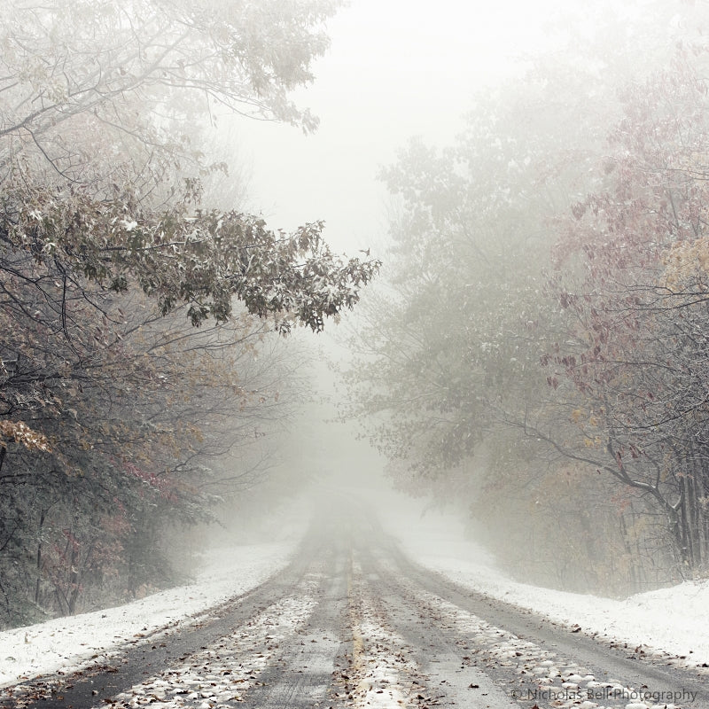 winter road photography print, snow