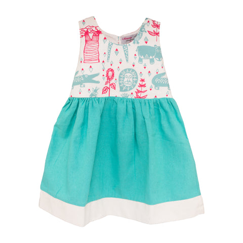 Animal Screen Print Girl's Dress