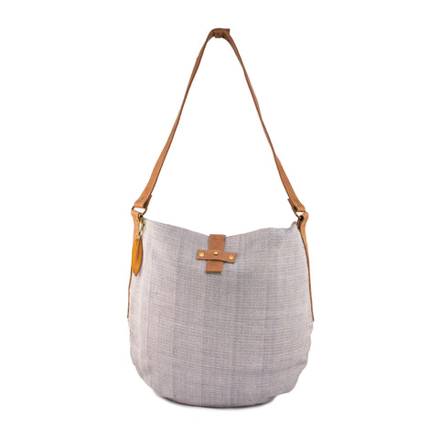 Leather/ Woven Shoulder Bag