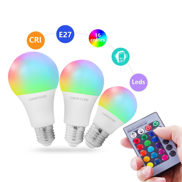 RGB Led Bulb 5w 10w 15w Led Lamp E27 Dimmable RGB Lampada Smart Night Light Bulbs with IR Remote Control