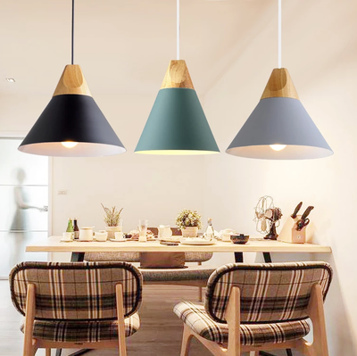 Nordic LED Pendant Lights Dining Room Pendant Lamp Modern Colorful Restaurant Kitchen Coffee Bedroom Loft Hanglamp Wood E27