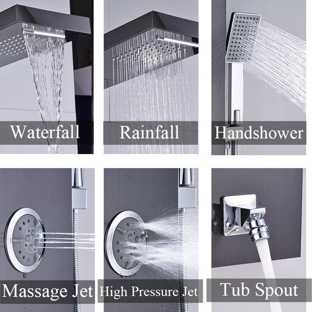 Black Nickel Rainfall Waterfall Shower Panel W/Massage Jets