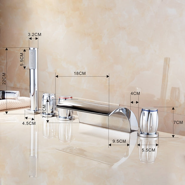 Roman Deck Mounted Bathtub Faucet with Hand shower-LumuloxDecor.com