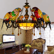 Luxurious Mediterranean retro stained glass parrot chandelier lamps