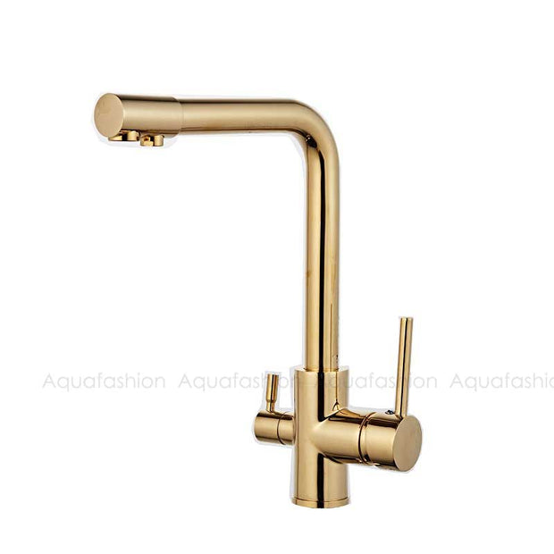 Gold Kitchen Faucets With Filtered Water Deck Mounted Drinking Water Mixer Tap