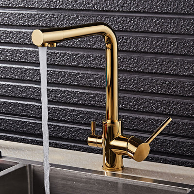 Gold Kitchen Faucets Deck Mounted Drinking Water Mixer Tap - LumuloxDecor