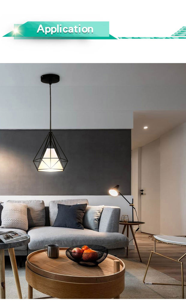 Modern Pendant Light Black Iron Hanging Cage Vintage Led Lamp E27 Industrial Loft Retro Dining Room Restaurant Bar Counter