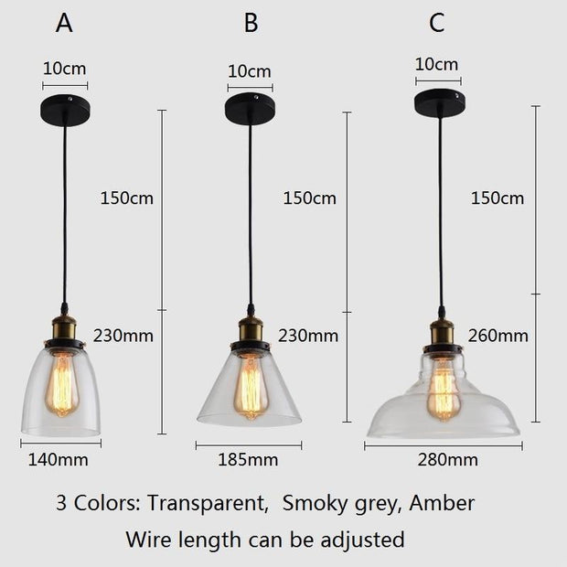 Vintage Pendant Lights Glass Pendant Lamps Loft Industrial Hang Lamp Smoky Grey Lamparas De Techo Colgante Modern Lustre Pendent
