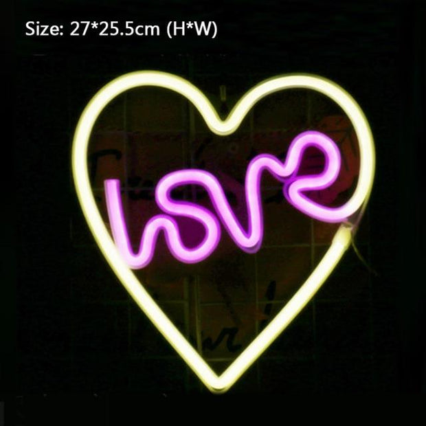 Wall Hanging Decor LED Neon Sign Light Love Heart Wedding Christmas Party Home Decoration Holiday Lighting Neon Night Lamp Gifts