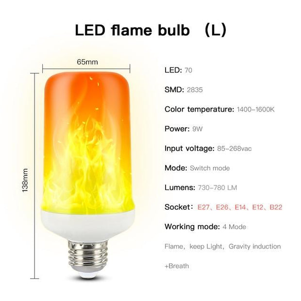 CHIZAO Flame effect decorative bulb LED dynamic flame light E12/14/26/27 Creative corn bulb Flame simulation effect Night light