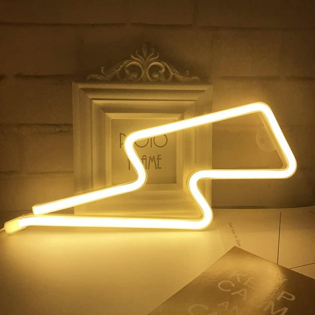 Warm White Lightning Neon Lamps Battery/USB Operation Night Lights Neon Light up Bar Bedroom Party Christmas Wedding Decoration