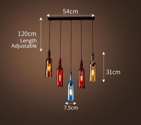 Wine Bottle Pendant Lamp LED Pendant Light Creative Pendant Lamp Bar Saloon Restaurant Home Christmas Decor 5 Colors Night Light