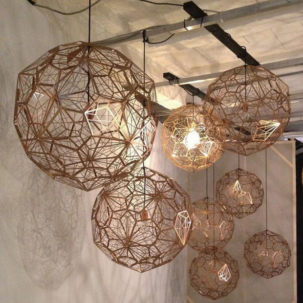 E27 Replica of Web Etch Modern Pendant Light Shadow Lamp For Living Room Dining Room