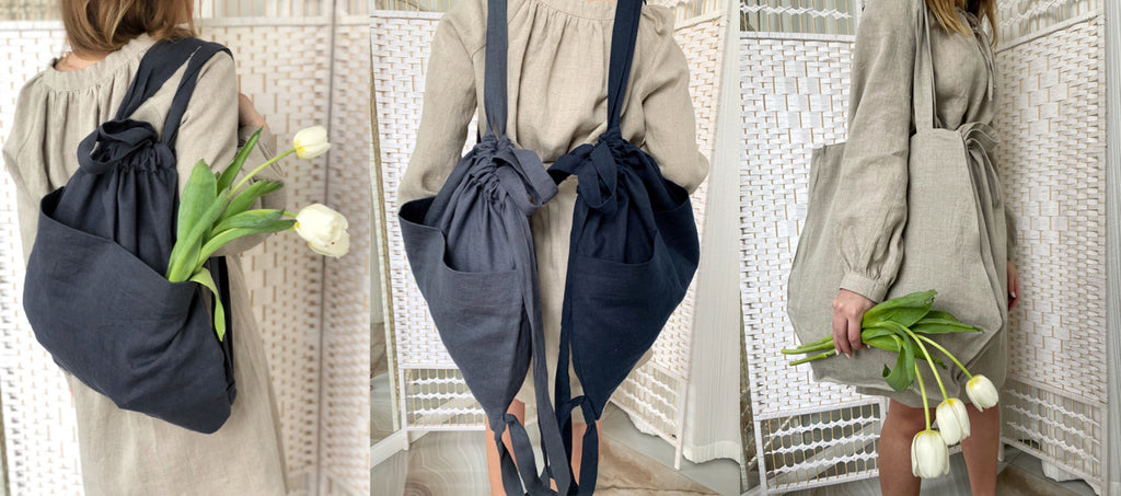 linen bags, linen tote bags, linen backpacks, shopping bags, sustainable bags, ecofriendly bags, pretty linen, market bags