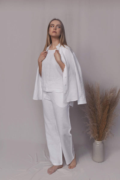 Aria White Linen Suit with Trousers pretty_linen_com