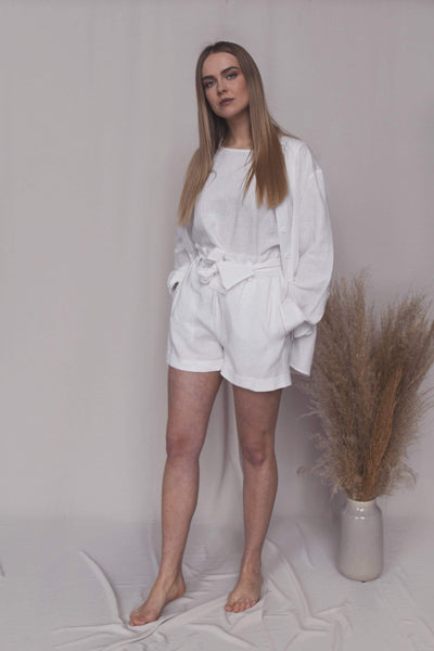 Ariana White Linen Suit with Shorts pretty_linen_com