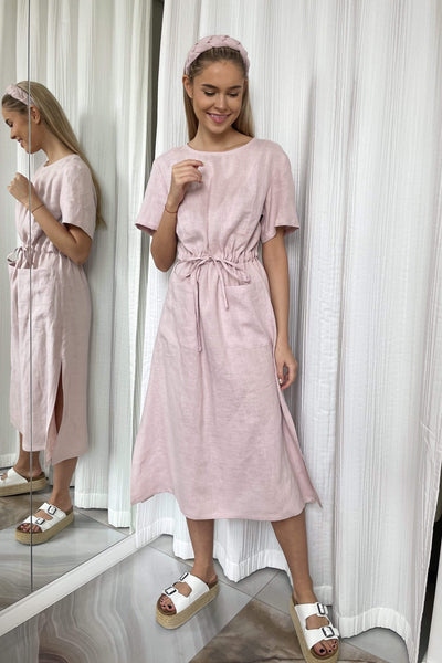Berta Midi Linen Dress pretty_linen_com
