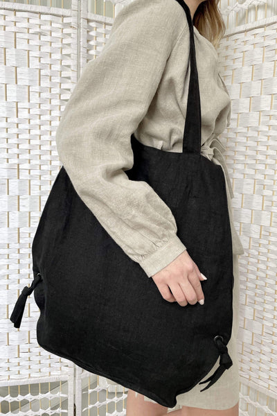 Blake Black Linen Bag pretty_linen_com