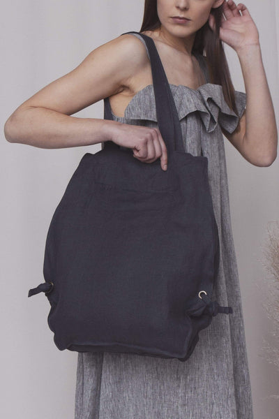 Blake Graphite Grey Linen Bag pretty_linen_com