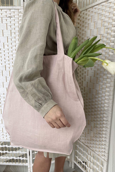 Candice Dusty Rose Linen Bag pretty_linen_com